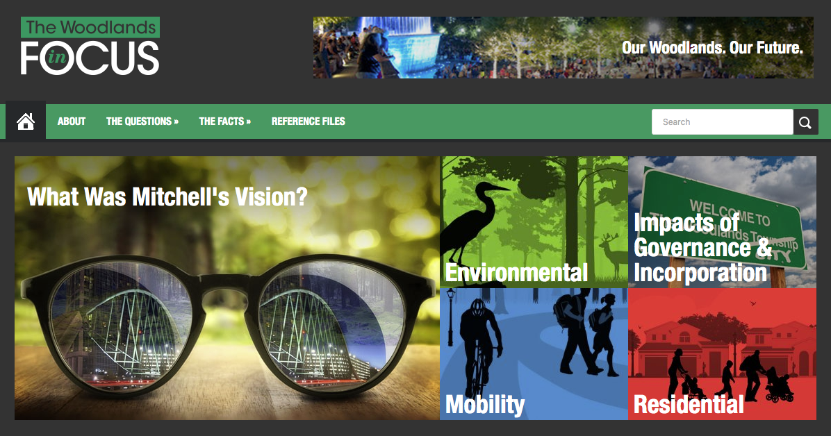 Screenshot of The Woodlands in Focus Homepage
